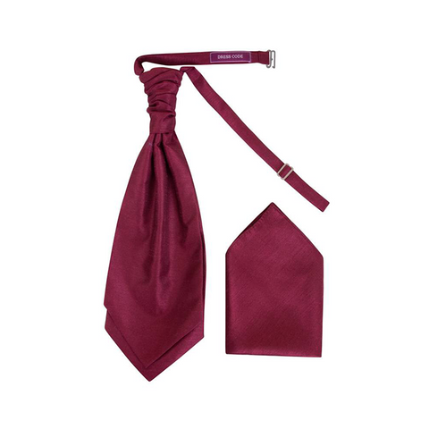 Mens Maroon Luxury Dupion Scrunchie Cravat with Pocket Square - Formal Saints ltd