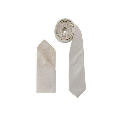 Luxury Premium Ivory Light Gold Swirl Woven Neck Tie & Handkerchief Set - Formal Saints ltd
