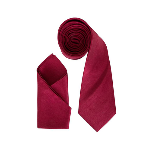 Mens Burgundy Luxury Dupion Neck Tie with Pocket Square - Formal Saints ltd