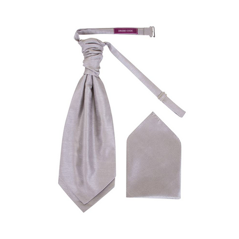 Boys Silver Grey Dupion Scrunchie Cravat with Pocket Square - Formal Saints ltd