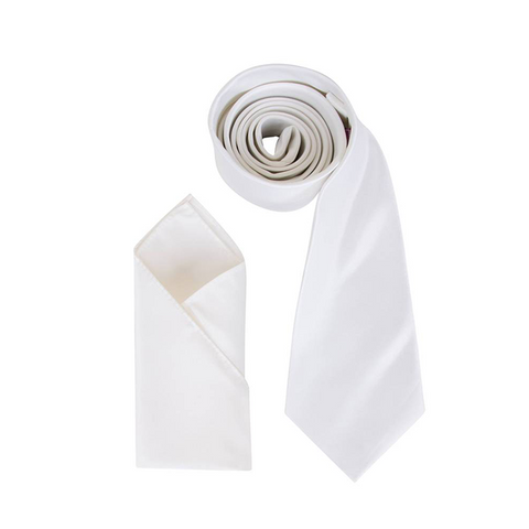 Mens Ivory Luxury Satin Neck Tie with Pocket Square - Formal Saints ltd