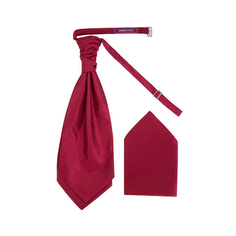 Mens Burgundy Luxury Dupion Scrunchie Cravat with Pocket Square - Formal Saints Ltd - Luxury Tie Specialist
