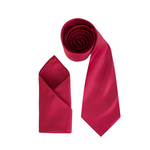 Mens Burgundy Luxury Satin Neck Tie with Pocket Square - Formal Saints ltd
