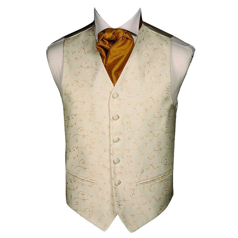 Mens Wedding Gold + Cream Woven Embroidery Waistcoat - Formal Saints ltd