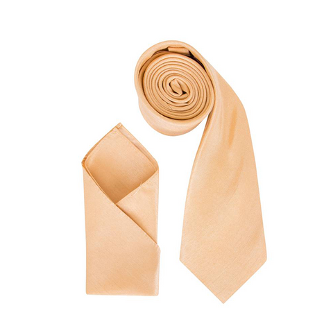 Mens Antique Gold Luxury Dupion Neck Tie with Pocket Square - Formal Saints ltd