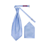 Men's Sky Blue Luxury Dupion Scrunchie Cravat with Pocket Square - Formal Saints ltd