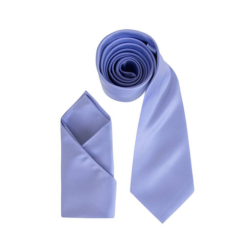 Mens Sky Blue Luxury Satin Neck Tie with Pocket Square - Formal Saints ltd