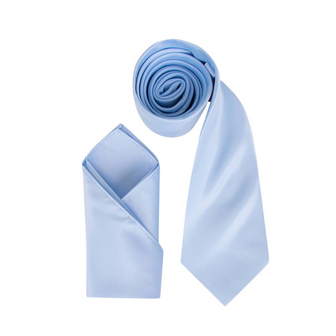 Mens Baby Blue Luxury Satin Neck Tie with Pocket Square - Formal Saints ltd