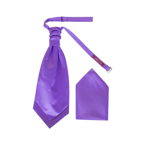 Mens Cadbury Purple Luxury Satin Scrunchie Cravat with Pocket Square - Formal Saints ltd