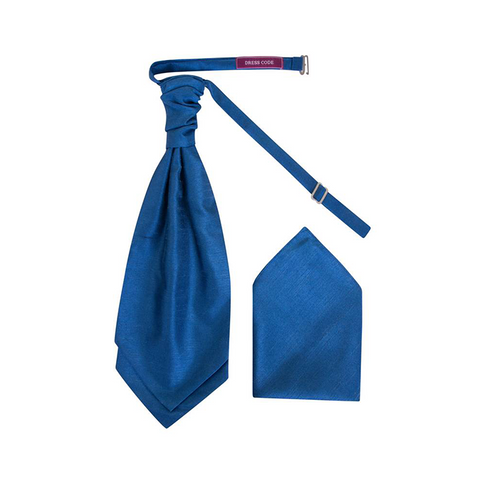 Mens Electric Blue Luxury Dupion Scrunchie Cravat with Pocket Square - Formal Saints ltd