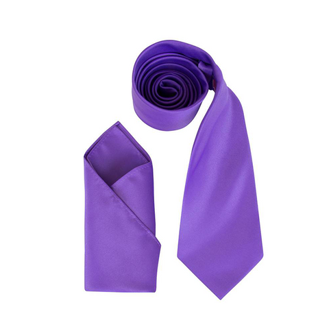 Mens Cadbury Purple Luxury Satin Neck Tie with Pocket Square - Formal Saints ltd