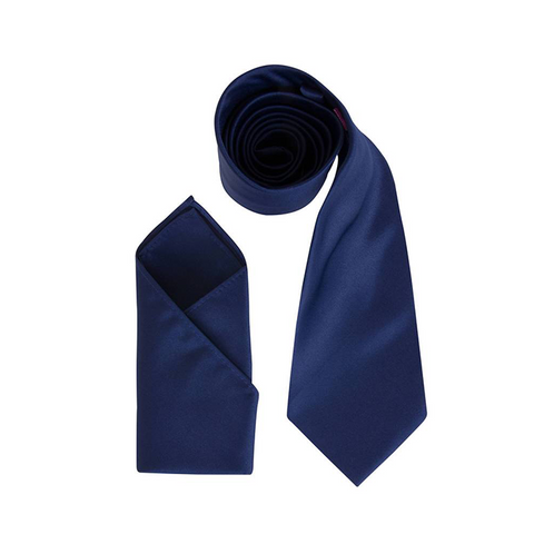 Mens Dark Navy Blue Luxury Satin Neck Tie with Pocket Square - Formal Saints ltd