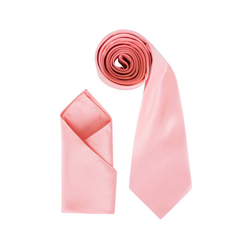 Mens Peach Luxury Satin Neck Tie with matching Pocket Square - Formal Saints ltd