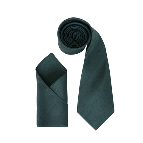 Mens Dark Green Luxury Dupion Neck Tie with Pocket Square - Formal Saints ltd