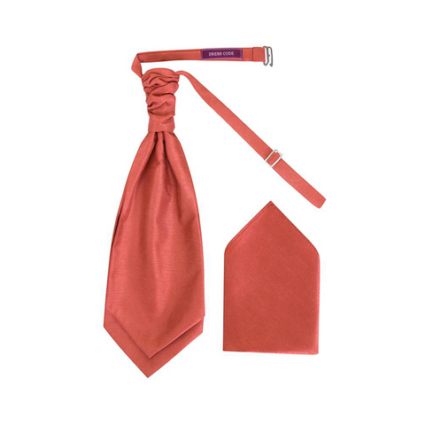 Mens Coral Orange Luxury Dupion Scrunchie Cravat with Pocket Square - Formal Saints ltd