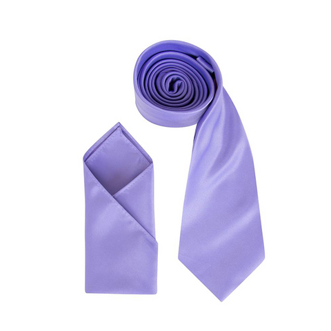 Mens Lavender Luxury Satin Neck Tie with Pocket Square - Formal Saints ltd