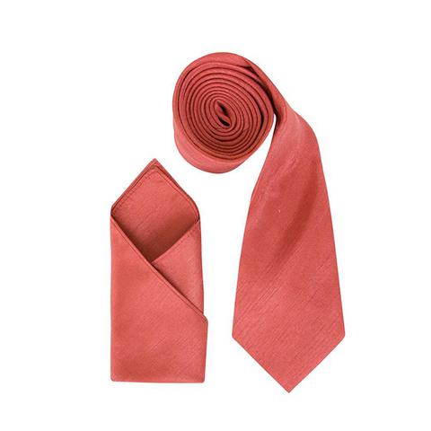 Mens Coral Orange Luxury Dupion Neck Tie with Pocket Square - Formal Saints ltd