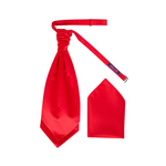 Mens Candy Red Luxury Satin Scrunchie Cravat with Pocket Square - Formal Saints ltd