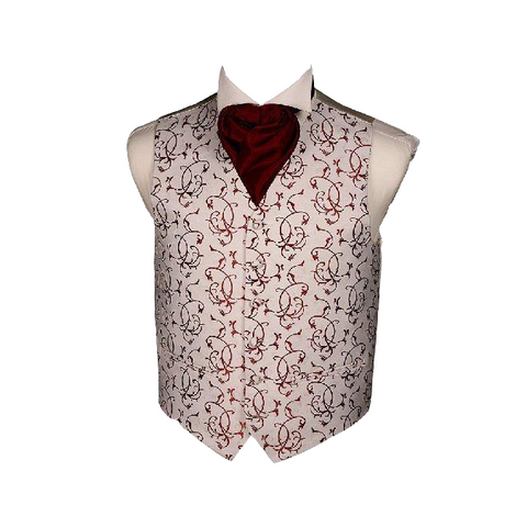 Mens Wedding Woven Waistcoat Burgundy Swirls (Embroidered) - Formal Saints ltd