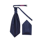 Boys Dark Navy Luxury Dupion Scrunchie Cravat with Pocket Square - Formal Saints ltd