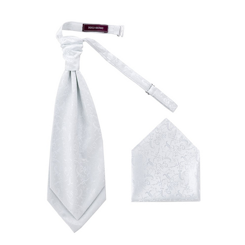 Men's Woven Ivory Flowers Cravat & Handkerchief - Formal Saints ltd