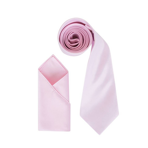 Mens Bottle Pink Luxury Satin Neck Tie with Pocket Square - Formal Saints ltd