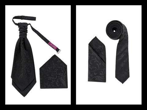 Men's Woven Luxury Woven Jacquard Cravat OR Neck Tie Textured Finish Premium - Formal Saints ltd
