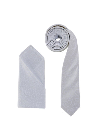 Luxury Premium Ivory White Swirl Woven Neck Tie & Handkerchief Set - Formal Saints ltd