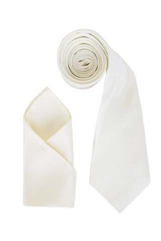 Men's Ivory Off White Dupion Texture Finish Cravat OR Skinny Neck Tie With Handkerchief Set - Formal Saints ltd