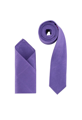Men's Purple Dupion Texture Finish Cravat OR Skinny Neck Tie With Handkerchief Set - Formal Saints ltd