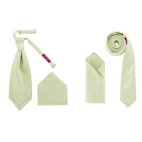 Men's Sea Form Green Satin Smooth Finish Cravat OR Skinny Neck Tie With Handkerchief Set - Formal Saints ltd