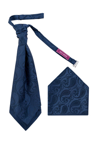 Men's Dark Navy Luxury Ivory Woven paisley Cravat OR Neck Tie Textured Finish Premium - Formal Saints ltd