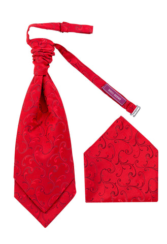 Men's Cherry Red Luxury Woven Cravat OR Neck Tie Textured Finish Premium - Formal Saints ltd