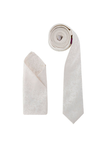Luxury Premium Woven Neck Tie Ivory Flowers - Formal Saints ltd