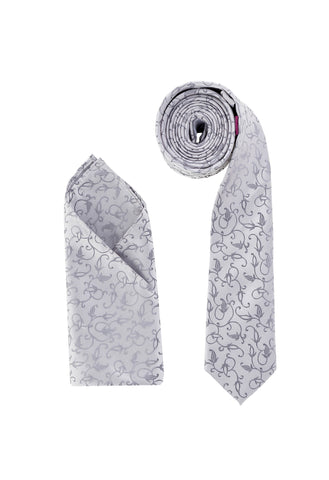 Luxury Premium Woven Neck Tie Silver Grey Flowers - Formal Saints ltd