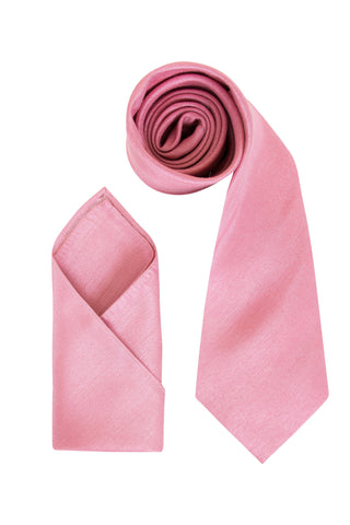 Men's Dusky Pink Luxury Dupion Texture Finish Cravat OR Skinny Neck Tie With Handkerchief Set - Formal Saints ltd