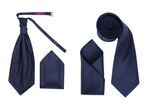 Men's Dark Navy Blue Dupion Texture Finish Cravat OR Skinny Neck Tie With Handkerchief Set - Formal Saints ltd