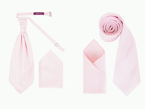 Men's Baby Pink Luxury Dupion Texture Finish Cravat OR Skinny Neck Tie With Handkerchief Set - Formal Saints ltd