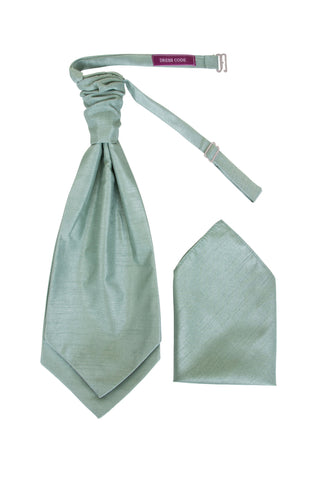Men's Sage Green Dupion Texture Finish Cravat OR Skinny Neck Tie With Handkerchief Set - Formal Saints ltd