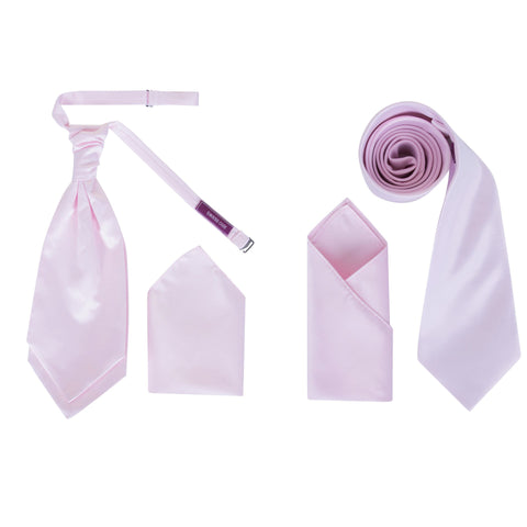 Men's Baby Pink Satin Smooth Finish Cravat OR Skinny Neck Tie With Handkerchief Set - Formal Saints Ltd - Luxury Tie Specialist