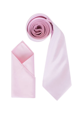Men's Baby Pink Satin Smooth Finish Cravat OR Skinny Neck Tie With Handkerchief Set - Formal Saints ltd