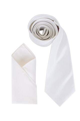 Men's Ivory Satin Smooth Finish Cravat OR Skinny Neck Tie With Handkerchief Set - Formal Saints ltd