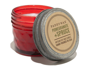 Paddywax soy candle pomegranate and spruce 3 oz.