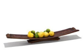 large fruit tray made of wine stave