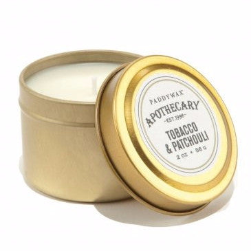 Paddywax Apothecary Tin Candle - Tobacco + Patchouli