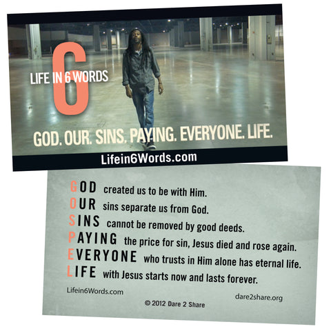 Life in 6 Words GOSPEL Cards 20 Pack