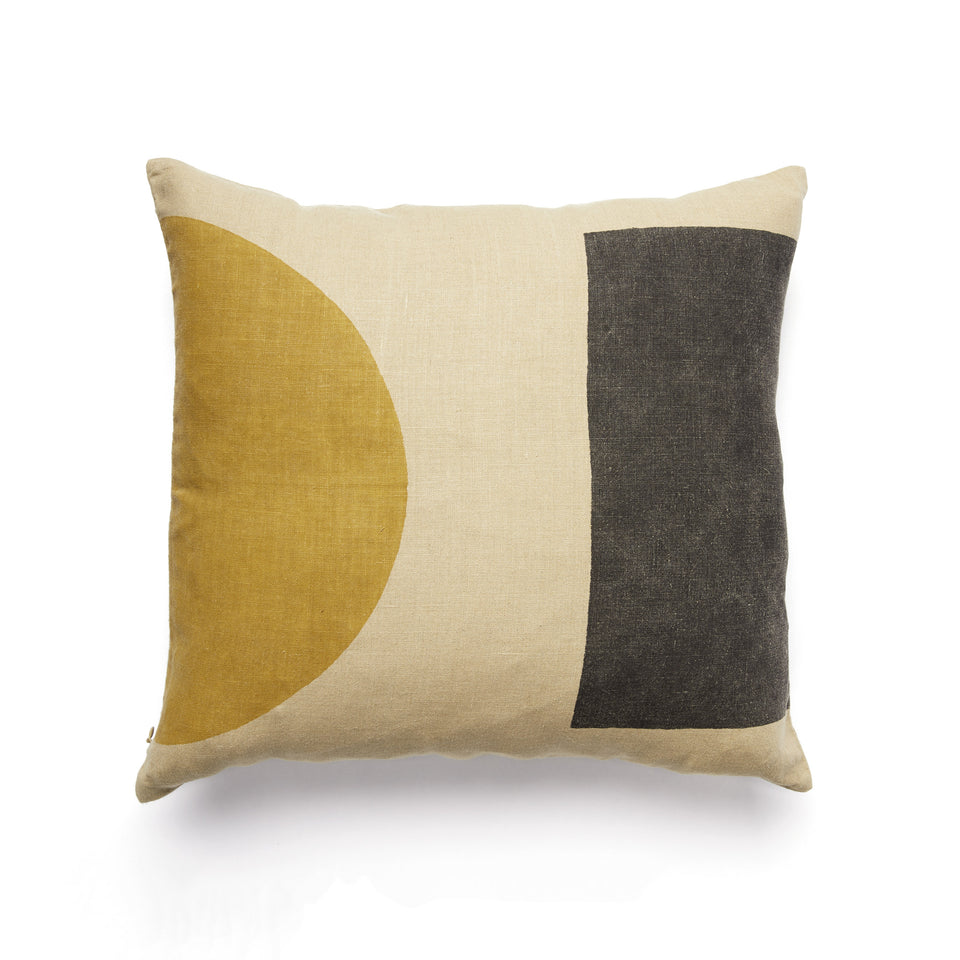 Dot Dash Pillow | Black & Ochre