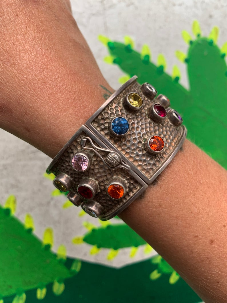 1990s sterling cuff with semiprecious gemstones