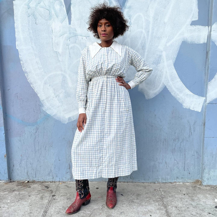 Early 1900s Immaculate Linen Plaid Dress