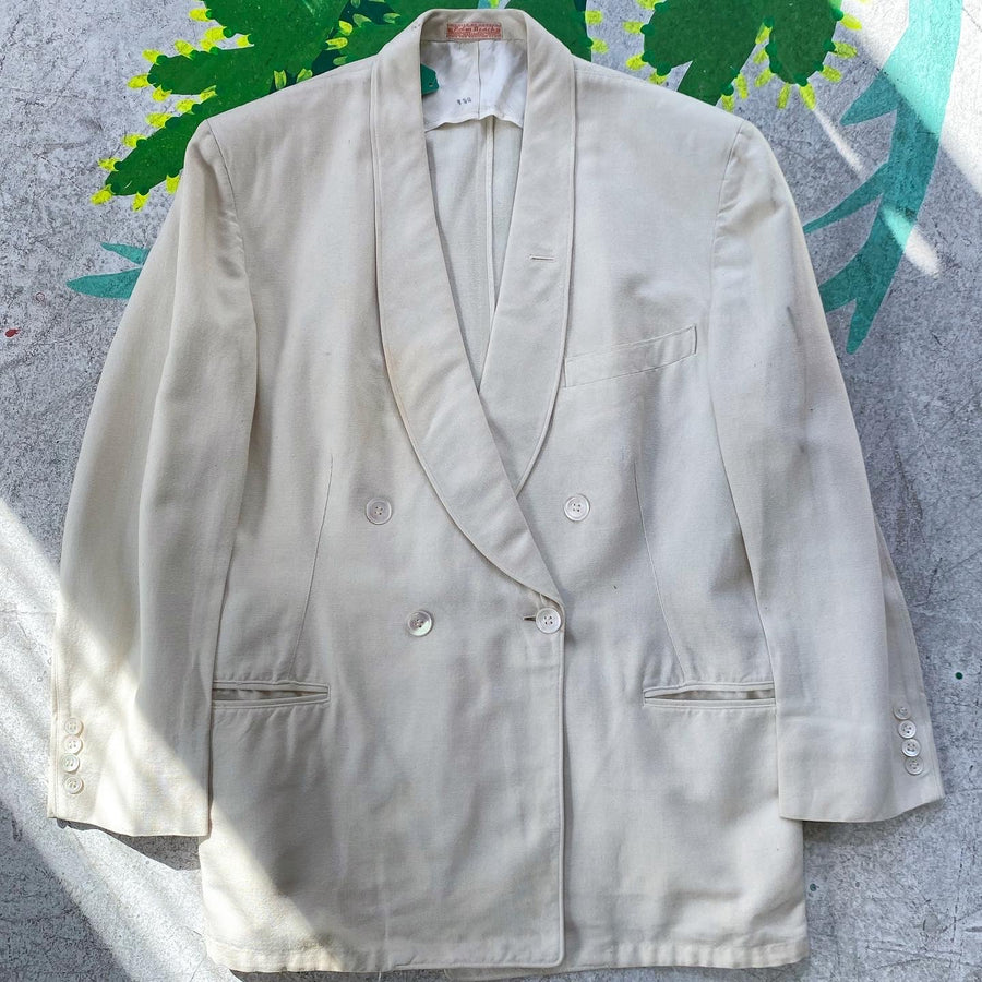Late 30s Early 40s Palm Beach Linen double breasted blazer